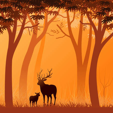 Background with landscape illustration with forest at sunset, with autumnal colors and deer silhouettes in the foreground. Banco de Imagens