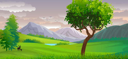 Natural landscape background with sky with clouds, mountains, hills and in the foreground trees and deers silhouett.Digital art.