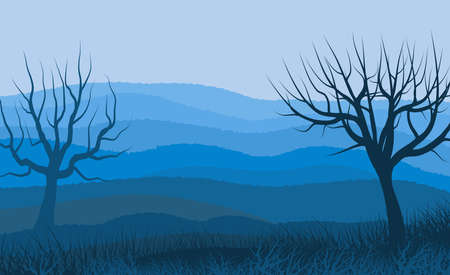 Background with illustration of paiswgem with distant mountains, in various planes and shades of blue. In the foreground leafless trees that refer to a winter and cold environment.Digital art. Banco de Imagens