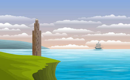 Background with illustration of landscape with lighthouse, sea and a sailboat. Digital art.