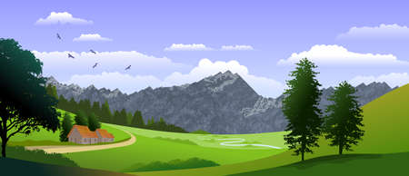 Natural landscape background with sky with clouds, mountains, hills and in the foreground a small house and trees. Illustration.Digital art.