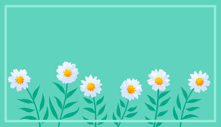 Illustration with floral background. Flowers, marigolds in stylized style. Digital art. Field, nature.