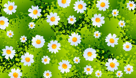 Illustration with floral background. Flowers, marigolds in stylized style. Digital art. Banco de Imagens