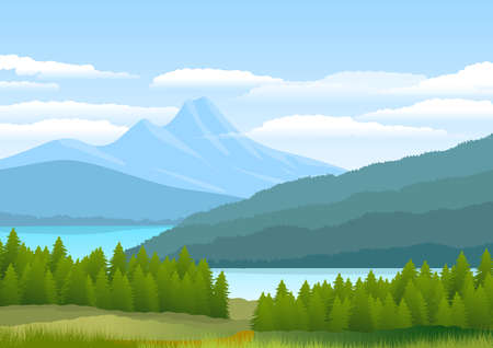 Natural landscape with mountains, coniferous forest, pine trees and a river meandering. Illustration.Digital art.