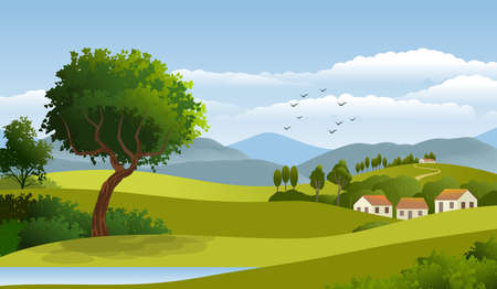 Background with illustration of natural landscape, with cloudy sky, country houses and trees. Digital art illustration.