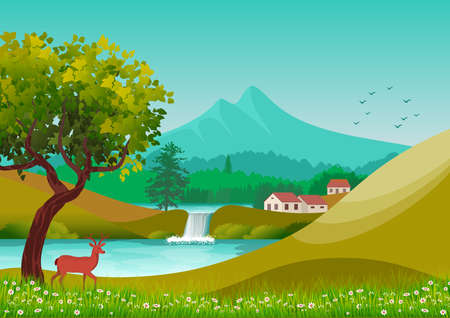 Background with illustration of natural landscape, with cloudy sky, country houses and trees. Rural, blue.