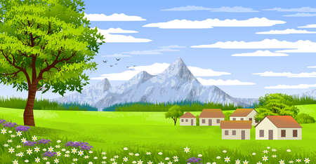 Background with illustration of natural landscape, with cloudy sky, country houses and trees. Land, mountains.Digital art. Banco de Imagens