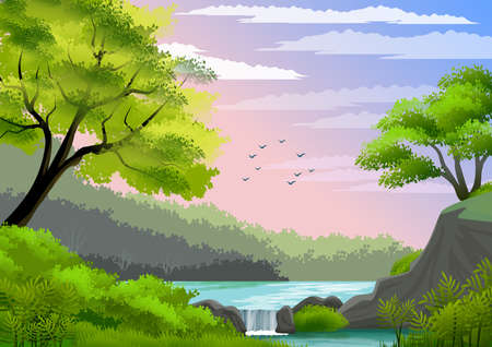 Natural landscape with blue sky, mountain, green hills, trees, pine forest in silhouette, river with waterfall. Digital art. Background illustration.