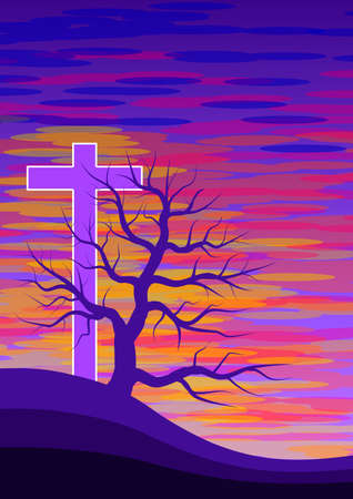 Background with illustration alluding to holy week and calvary. Digital art.Illustration. Banco de Imagens