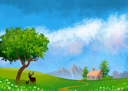 Natural landscape background with sky with clouds, mountains, hills and in the foreground a small house, trees and deers silhouette. Illustration.Digital art. Banco de Imagens
