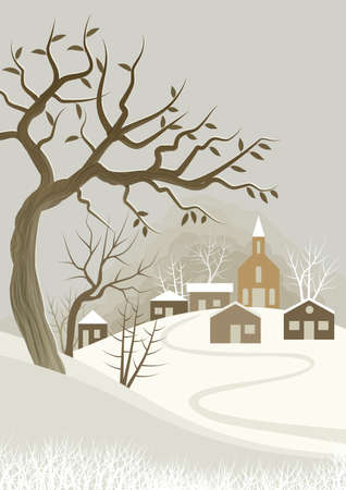 Illustration Background with winter landscaping theme, with small village with church. In the foreground a tree almost stripped of leaves. Digital art.