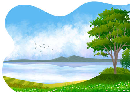Background with illustration of natural landscape, with sky with clouds, mountain, lake with reflection and in the foreground an isolated tree and flowery meadow. Digital art.