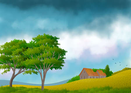 Background with illustration of natural landscape, with sky with clouds and in the foreground trees and country house. Digital art illustration.
