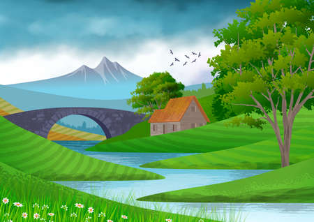Background with illustration of natural landscape. In the foreground, a river with a bridge, a country house and trees. Digital art illustration. Banco de Imagens