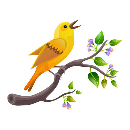 Stylized colorful bird on flowery branch, isolated on white background. Illustration. Digital art. Banco de Imagens