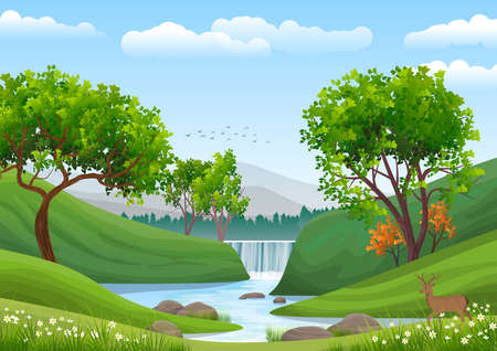 Natural landscape with blue sky, mountain, green hills, trees, pine forest in silhouette, river with waterfall and a deer. Illustration Ideal for background or wallpaper.