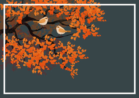 Background with illustration of tree branch with birds. Stylized elements. Digital art. Banco de Imagens