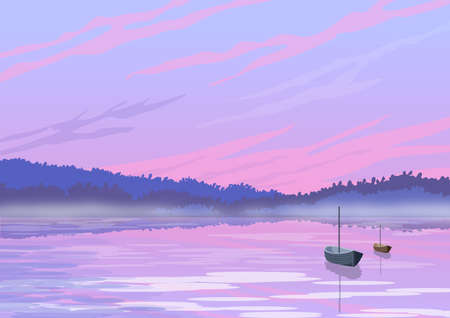 Background with illustration of natural landscape. Lake environment with foggy background and abandoned boats. Digital art.