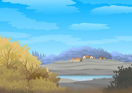 Background with illustration of natural landscape, with cloudy sky, country houses and trees. Digital art.