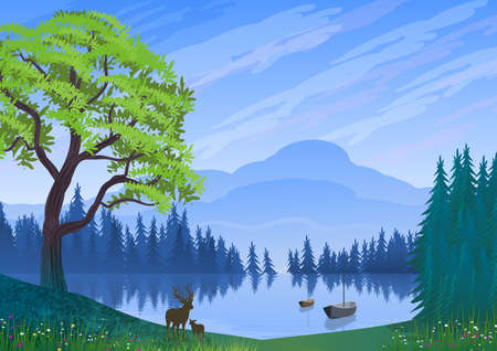Background with illustration of natural landscape. Mountains, fir and pine forest, lake with reflections and abandoned boats. In the foreground tree, a deer mother and her son.Digital art. Stylized style.