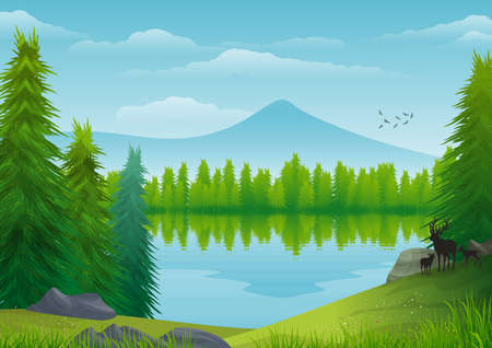 Background with illustration of natural landscape. Blue sky with clouds, mountain, forest, trees, conifers and deer in silhouette. Digital art.