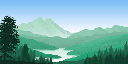 Background with illustration of natural landscape with mountains, forest and a river. In the foreground forest in silhouette. Digital art.