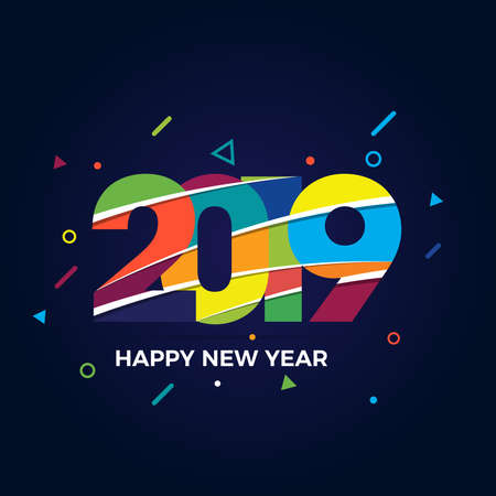 Happy New Year 2019 text design. Cover of business diary for 2019 with wishes. Brochure design template, card, banner. Vector illustration Stock Vector - 133036329