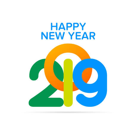Happy New Year 2019 text design. Cover of business diary for 2019 with wishes. Brochure design template, card, banner. Illustration