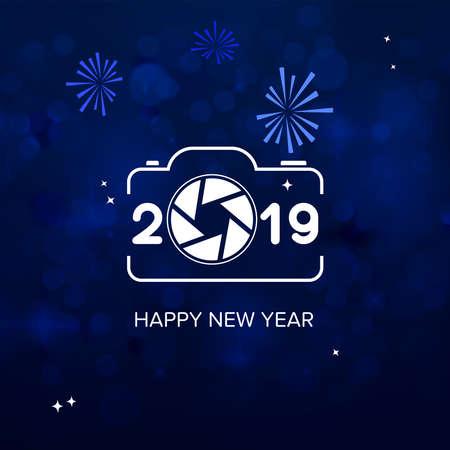 Photo Studio New Year Wish, 2019 Happy New Year background. Seasonal Greeting Card template Illustration