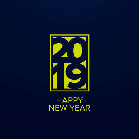 Happy New Year 2019 text design. Cover of business diary for 2019 with wishes. Brochure design template, card, banner. Stock Vector - 133036343
