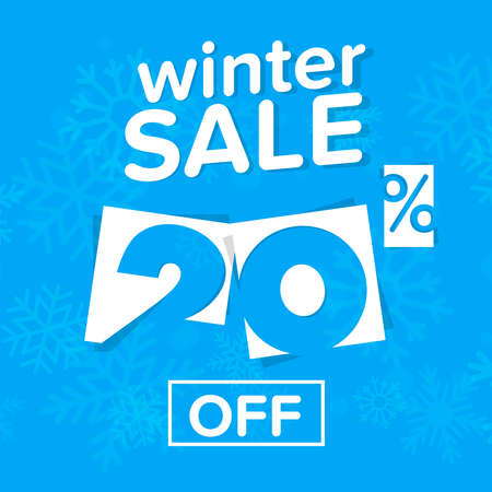 Winter sale vector banner with sale text in snow background Vektoros illusztráció