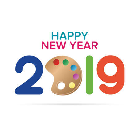 Art School New Year Wish. Happy New Year 2019 text design. Cover of business diary for 2019 with wishes. Brochure design template, card, banner. Vector illustration. Stock Vector - 133036353