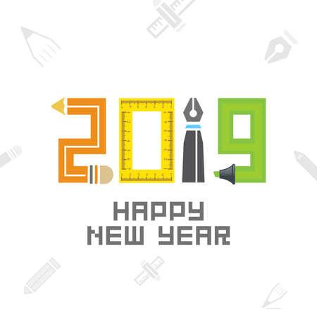 2019 Educational New Year background. Seasonal Greeting Card template
