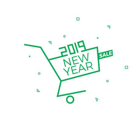 2019 New Year Sale Background Vector Illustration, Online Market Sale Banner, Card, Offer, Wish Post
