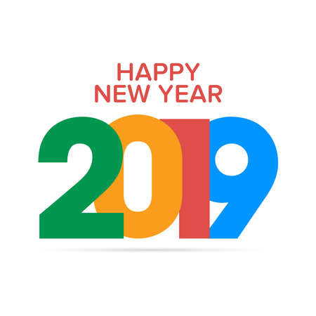 Colorful 2019 Happy New Year background. Seasonal Greeting Card template