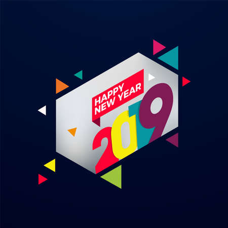Happy New Year 2019 text design. Cover of business diary for 2019 with wishes. Brochure design template, card, banner. Vector illustration. Stock Vector - 133036355