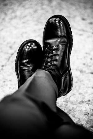 combat boots: Combat boots. Stock Photo