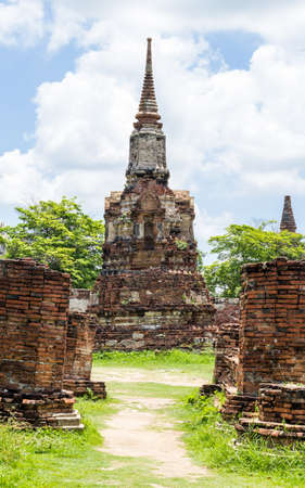 remains: Wat Mahathat temple ancient remains in Ayutthaya city of Thailand.