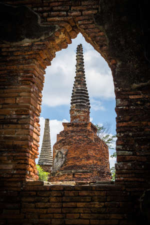 remains: Wat Phrashisanpet temple ancient remains in Ayutthaya city of Thailand. Stock Photo
