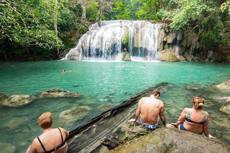 Erawan Falls (The second waterfall – Wang Matcha) with emerald green pond in Erawan  National Park. Kanchanaburi Province, Thailand. Editorial