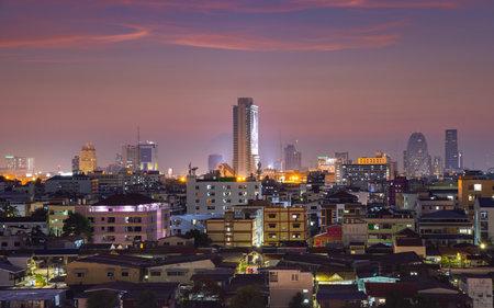 BANGKOK, THAILAND - April 22, 2019 : Bangkok cityscape with beautiful sunset.