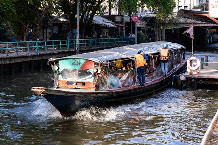 BANGKOK, THAILAND - June 14, 2019 : Water transportation by speed boat in Bangkok, Thailand.