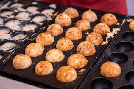 "Close-up of japanese snack food ""Takoyaki"""