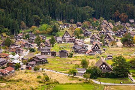 JAPAN - October 21, 2019 : Beautiful aerial view of the world heritage site, Shirakawa-go in autumn season Editorial