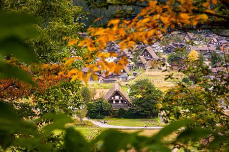 Beautiful aerial view , Shirakawa-go in autumn season