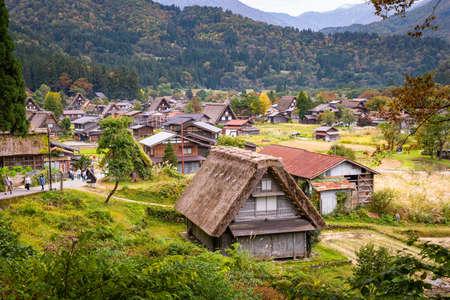 JAPAN - October 21, 2019 : Beautiful aerial view of the UNESCO world heritage site, Shirakawa-go in autumn season