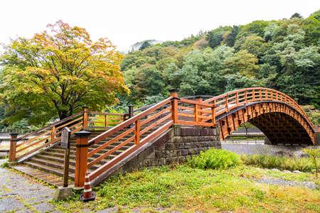 Kiso Ohashi,this bridge crosses the Narai River in Kiso valley, Shiojiri, Nagano, Japan.