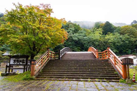NAGANO, JAPAN - October 19, 2019 : Kiso Ohashi, this bridge crosses the Narai River in Kiso valley, Shiojiri, Nagano, Japan.