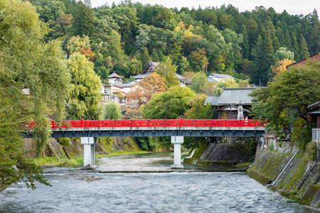 Nakabashi bridge in Takayama old town, Japan.
