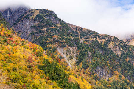 Colorful autumn leaves in Shin-hotaka ropeway ,Japan